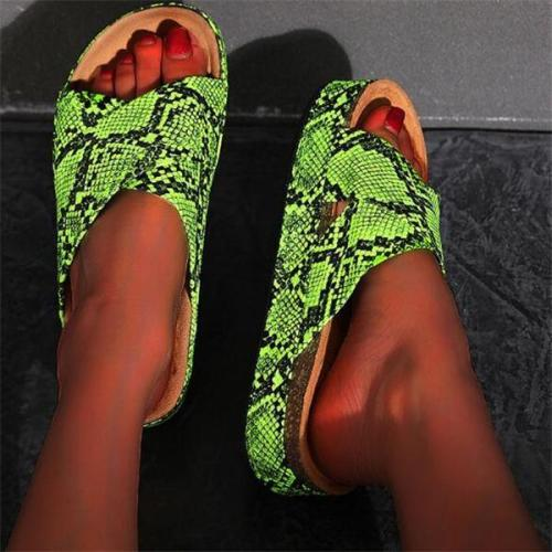 Women Summer Slip On Snake Skin Flat Slippers