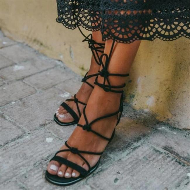 Open Toe Chunky Heel Lace-Up High-Cut Upper Casual Sandals