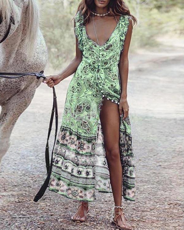 Bohemian Print Backless Buttoned Sleeveless Holiday Maxi Dress