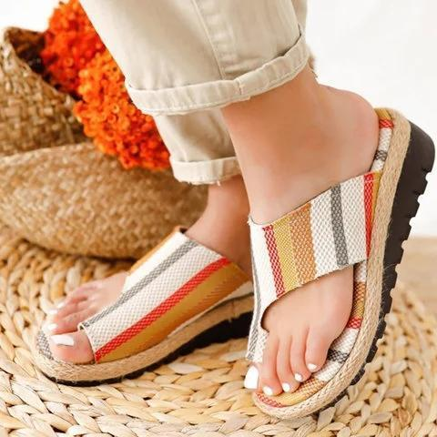 Block Heel Artificial Leather Seaside Summer Slippers