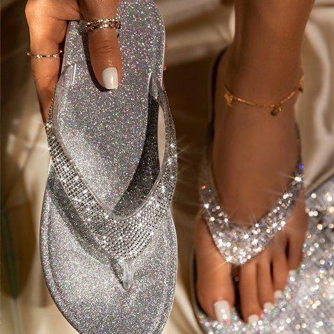 Silver Summer Artificial Leather Rhinestone Seaside Slippers