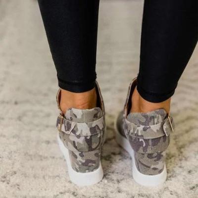 Camouflage Wedge Heel All Season Sneakers