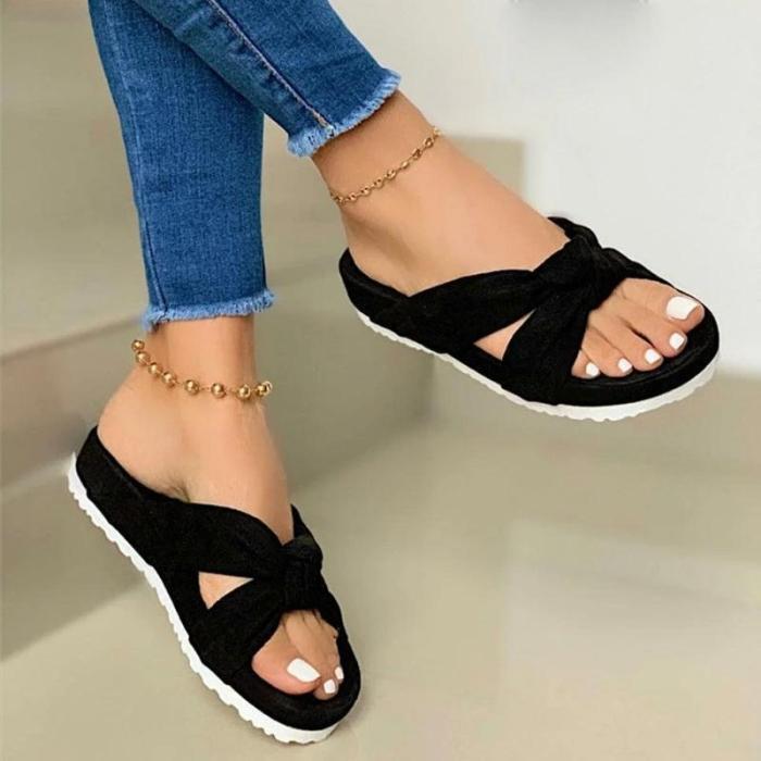 Women Summer Bowknot Open Toe Slip On Platform Slippers
