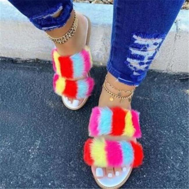 Women Summer Seaside Fluffy Fluff Flat Sandals