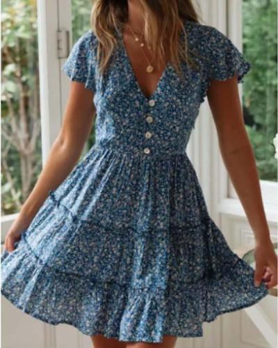 Sweet Little Floral Hot Style Print Mini Dress