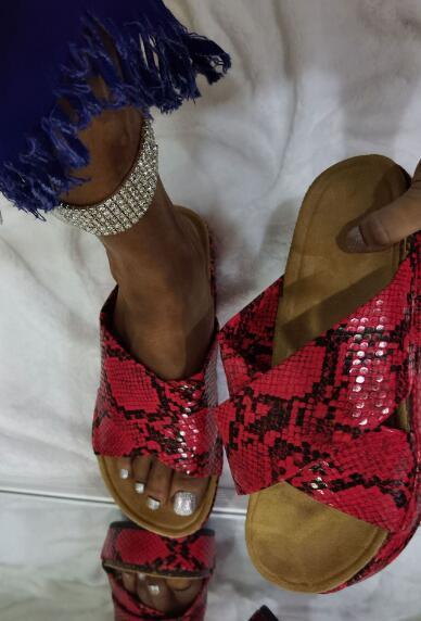 Women Summer Slip On Snake Skin Flat Slippers