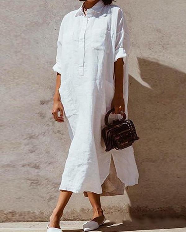 Pockets Buttoned V Neck Shift Daily Cotton-Blend Solid Dresses