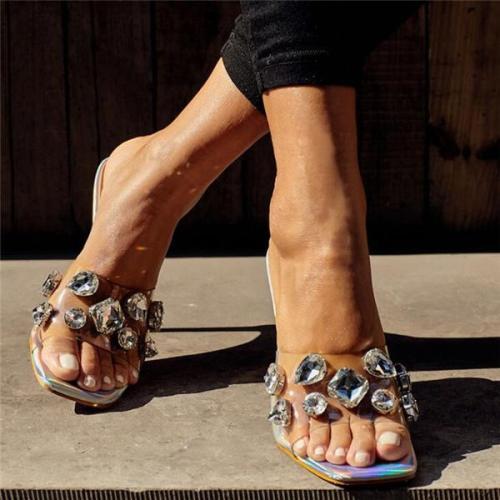 Women's Casual Pure Color Transparent Rhinestone Heels