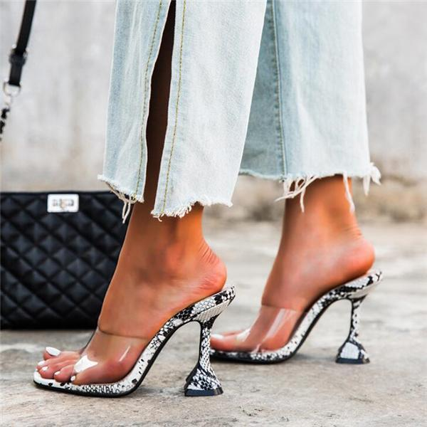Slip-On High-heeled Snake Sandals