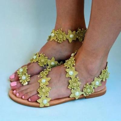 Women Slide Holiday Pu Flower Flat Heel Sandals