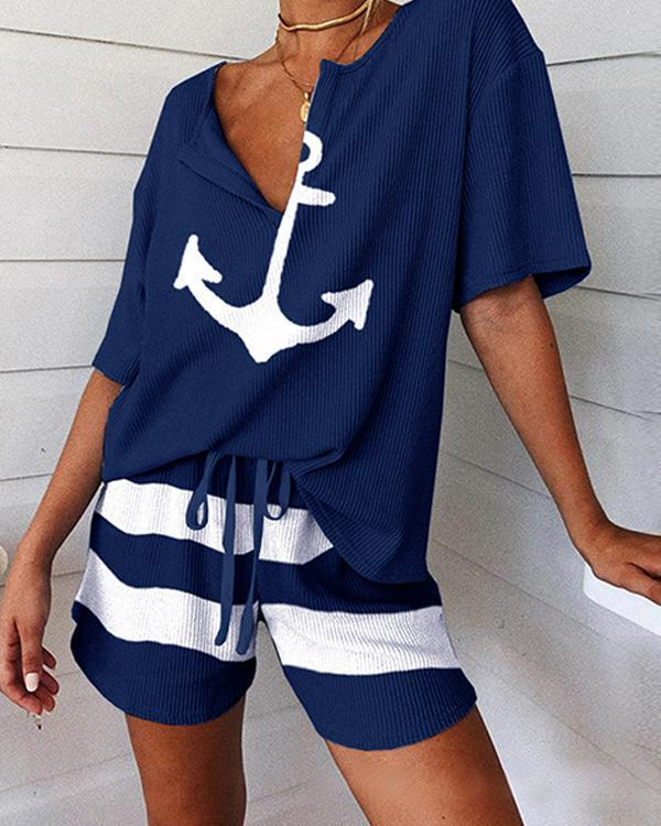 Boat Anchor Print Striped Short Sleeve Pajamas Set