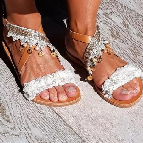Brown Leather Flat Heel Casual Summer Sandals