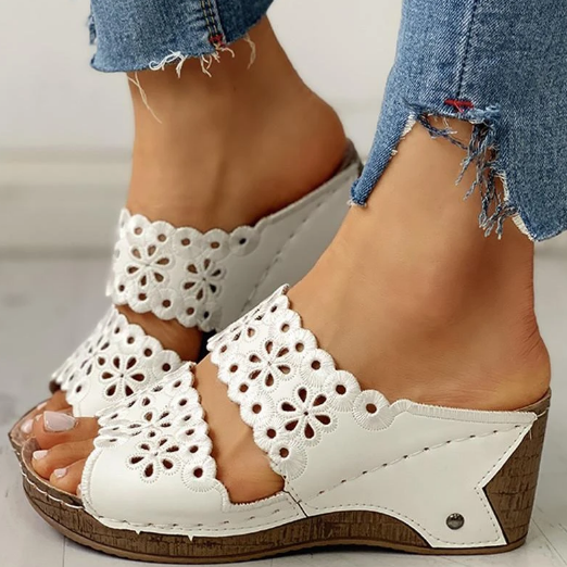 2020 Woman Fashion Sofiawears Open Toe Hollow Out Wedge Sandals