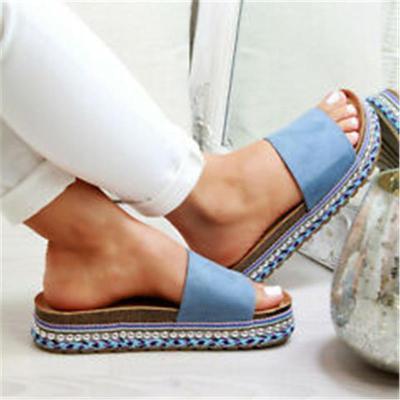 Women Plus Size Peep Toe Platform Sandals Slip-On Sandals