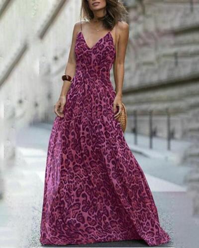 Women Fashion Leopard V-Neck Sleeveless Maxi  Dress