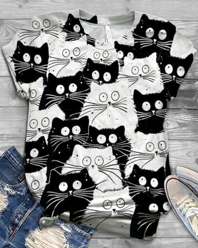 Cute Cat Printed Round Neck Shirts & Tops For Women