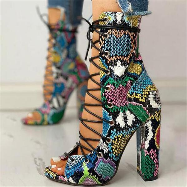 Lace Up Multicolor Snake Skin High Heel Sandals Boots