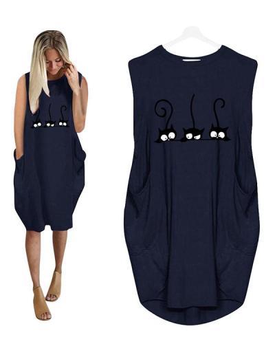 Casual Loose Irregular Pockets Sleeveless Dress