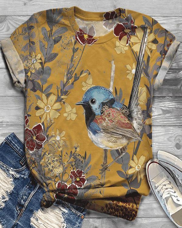 Plus Size Cotton-Blend Vintage Crew Neck Shirts & Tops
