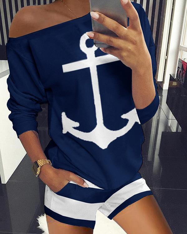 Long Sleeve Boat Anchor Print Striped Top & Shorts Set