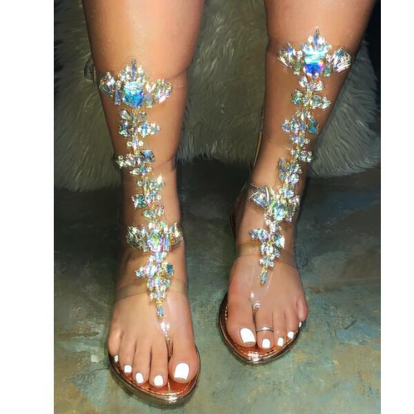 Woman Bohemia Clear Gladiator Thong Sandals Boots