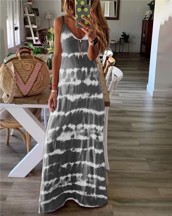 Sleeveless Ink Beach Holiday Daily Fashion Maxi Dresses