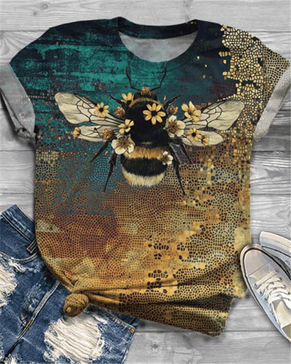 Bee Printed Short Sleeve Crew Neck Shirts & Tops