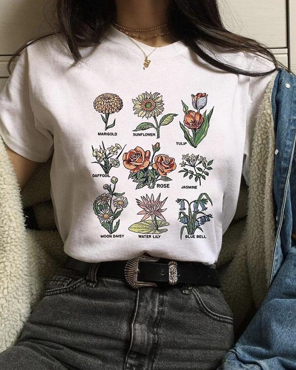 Flower Women's T-shirt Round Neck Short Tops