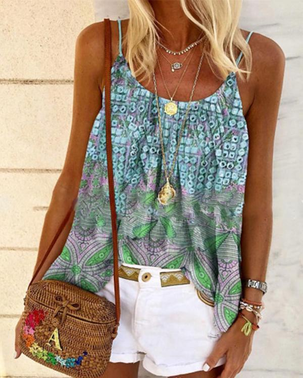 Boho print sleeveless T-shirt