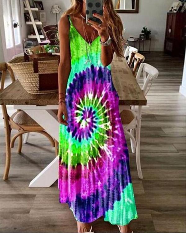 Bohemia Tie-dye Sling Long Dress