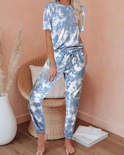 Dokifans Lace-up Tie-dye Royalblue Loungewear