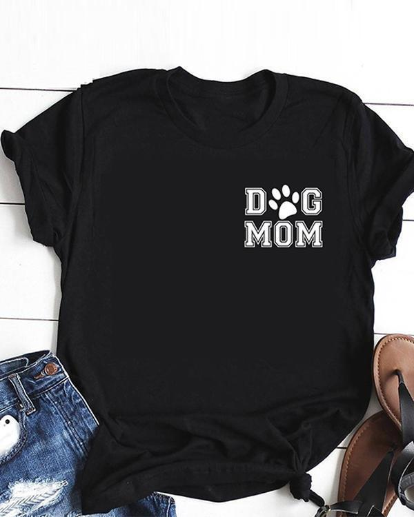 Dog Mom Cotton Tee Printed T-Shirt