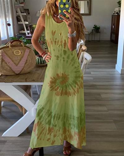 Sleeveless Gradient Print Crew Neck Holiday Maxi Dress