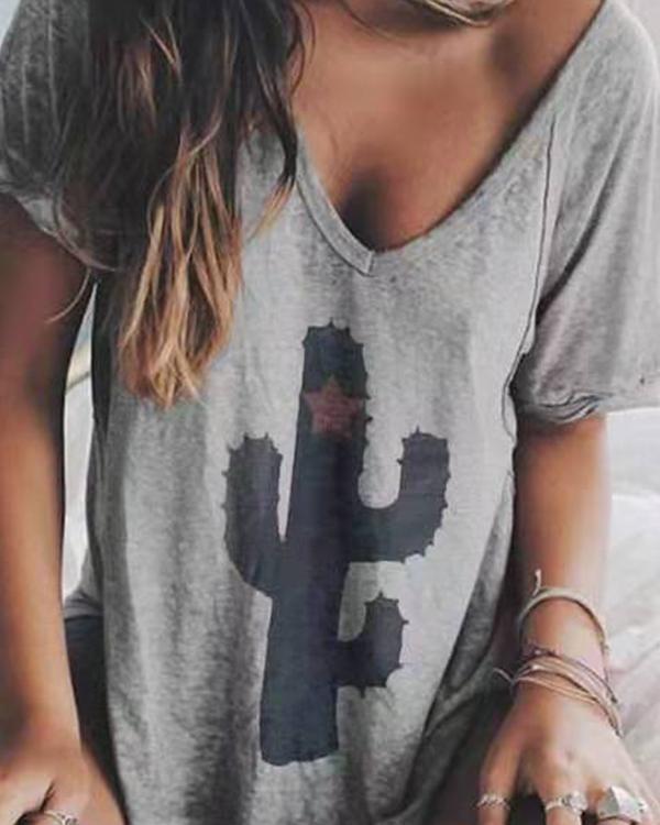 Casual V-neck Printed Short Sleeve Shift Shirts & Tops