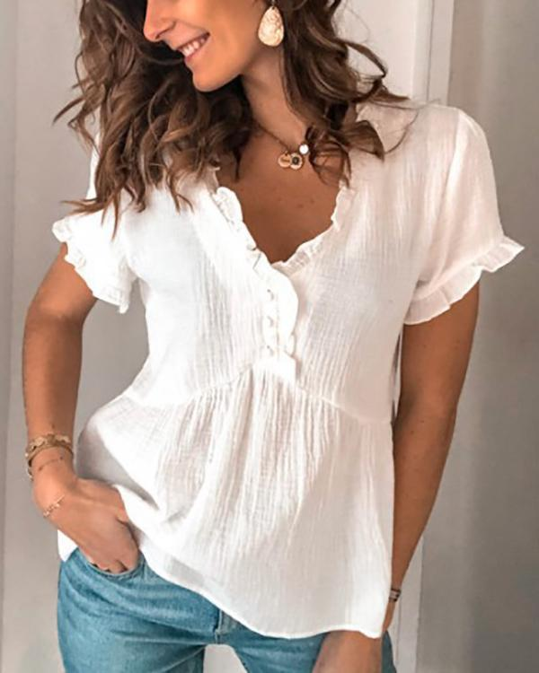 Solid V Neck Cotton-Blend Simple Basic Shirts & Tops