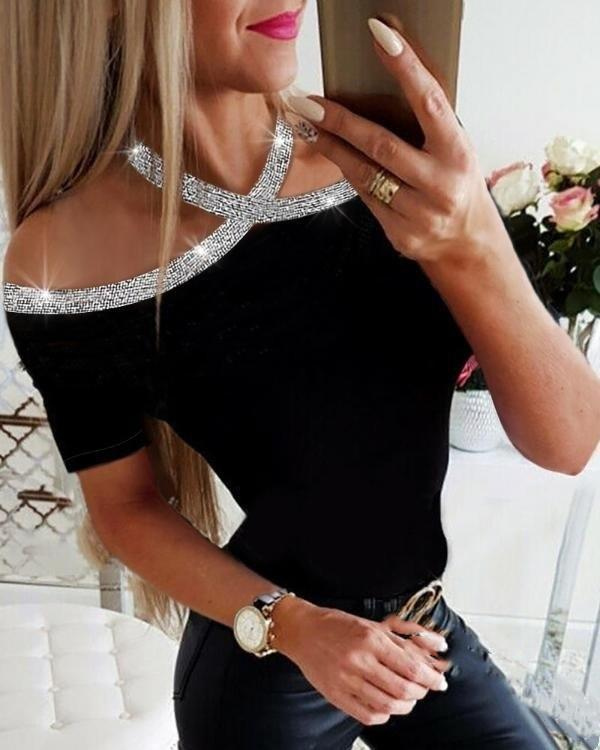 Women's Solid Colored T-shirt Daily Sexy Tops
