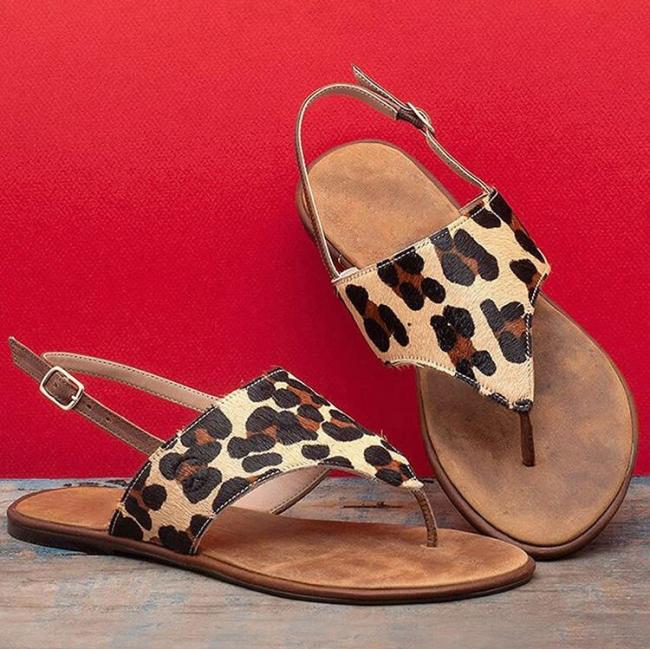 Leopard Buckle Strap Flat Sandals