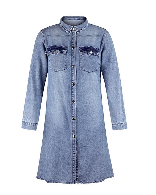 V Neck Long Sleeve Denim Dresses