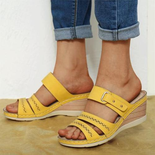 Wedge heel thick bottom cutout buckle sandals