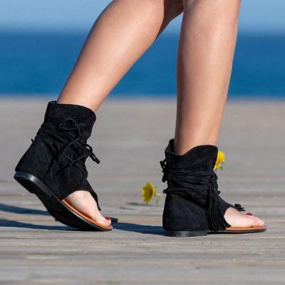 Retro flat Suede open-toe sandals