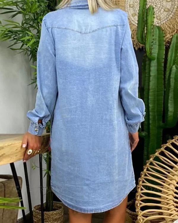 V Neck Long Sleeve Denim Dresses