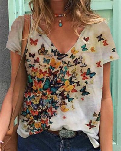Butterfly Printed Cotton Casual Shirts & Tops
