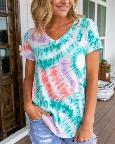 V-neck Gradient Print Paneled Casual Short Sleeves T-shirt