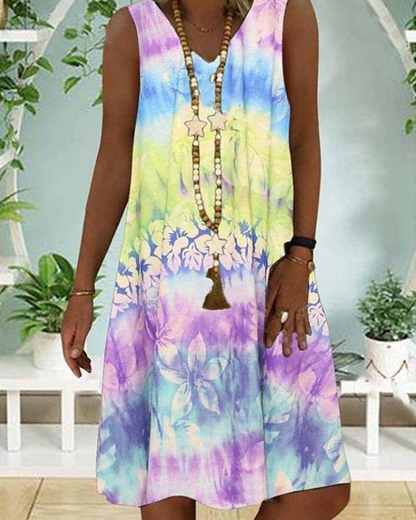 Sleeveless Rainbow Summer Boho A-Line Knee Length Dress