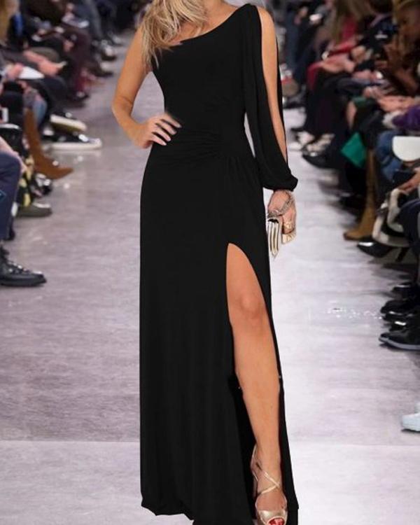 Vintage Statement Plain One-shoulder Sleeve Side Split Plus Size Casual Dresses