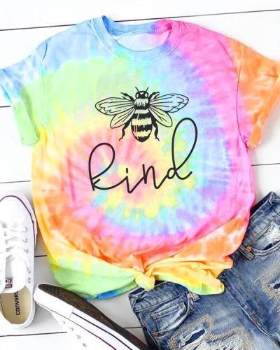 Tie Dye Bee Kind O-Neck T-Shirt Tee