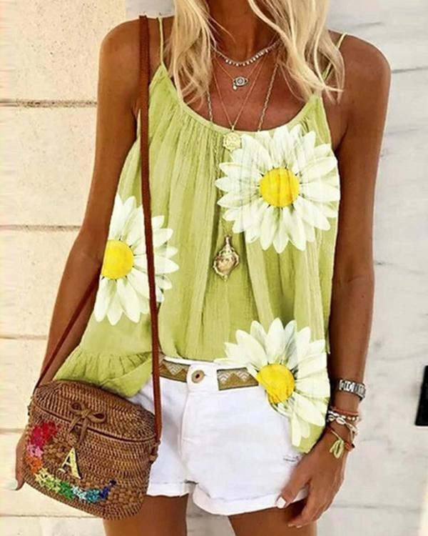 Casual Plus Size Sleeveless Floral Printed Tank Tops