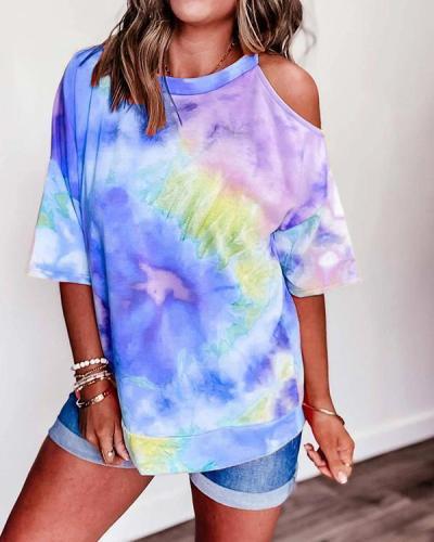 Cold Shoulder Gradient Print Paneled Casual T-shirt