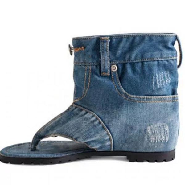 Women's Flip-Flops Denim Canvas Flat Heel Sandals
