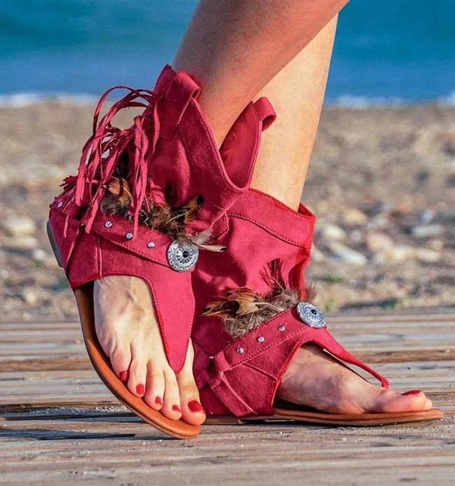 Stylish Suede Flat Sandals